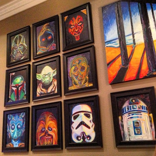 My boy allowed me to move the #starwars #originalart I painted into my bedroom. Yay! Here's the view from my bed where I will be healing from hip surgery starting tomorrow morning. #maytheforcebewithme