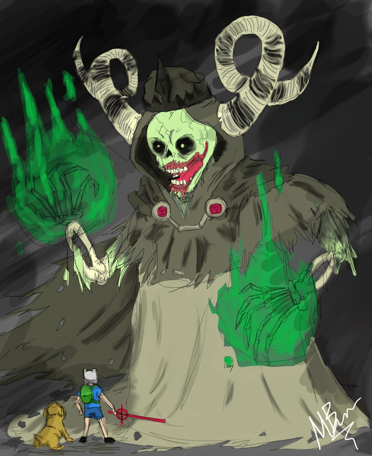 stryker-zee:  Just finished my picture of the Lich. the season 4 Finn-ale (see what I did there? I guess thats why my girlfriend calls me a dork all the time.) Well I hope you enjoy it. :D