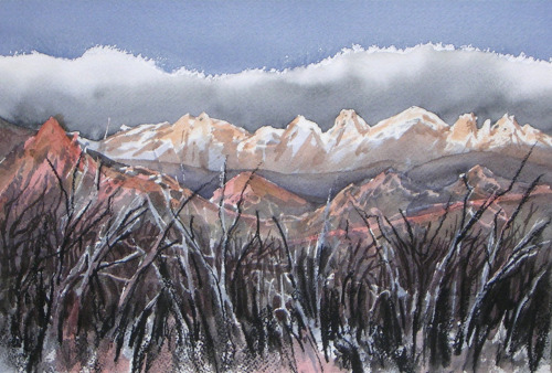 Front Range Dawn, watercolor, May 2012