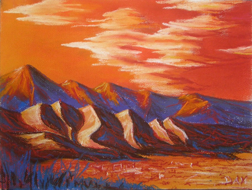 Front Range Sunset, soft pastels, May 2012
