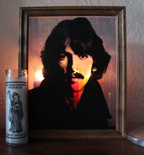 lisamathisart:  George Harrison - screen print on glass Lisa Mathis 2012