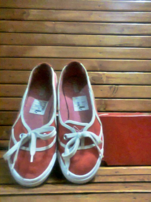 My sister's shoes, and the first one is mine!