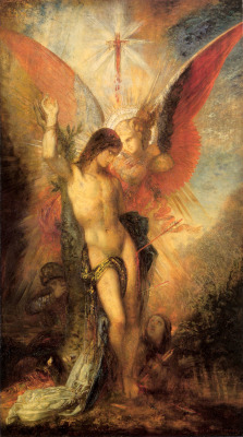 themothking:  necspenecmetu:   Gustave Moreau, Saint Sebastian and the Angel, 1876   Happy St. Sebastian's Feast Day, if you're into Catholicism or multiple hole penetration.