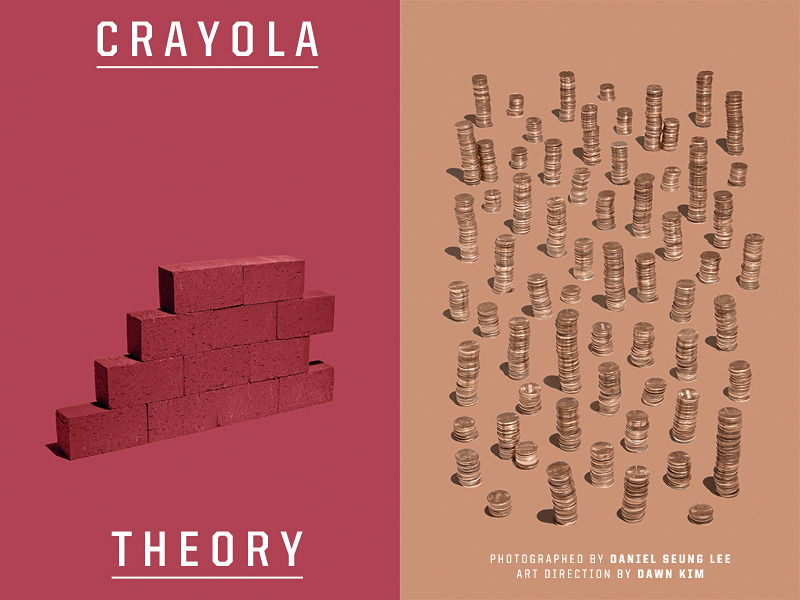 "Crayola Theory is a new project in collaboration with Dawn Kim. This series is a visual translation of Crayola's crayon titles using the physical objects and the official hex color codes. Dawn Kim is an art director based in Brooklyn, New York. She's also a great writer, comedian, dancer, and all around true artist whether she likes to admit it or not (she doesn't). She always has some sort of personal project she's working on and I was lucky enough to work with her on this Crayola Theory project. Please check her out because she is the real deal. If I had a yearbook for my life, I would vote for her to ""most likely succeed."""