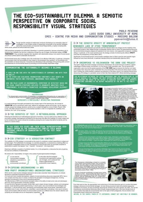 "Poster designer for the Abstract of the communication ""The Eco-sustainability dilemma. A semiotic perspective on corporate social responsibility visual strategies"" presented by prof. Paolo Peverini - Luiss at the 10th Congress of the International Association of Visual Semiotics, AISV-IAVS 2012."
