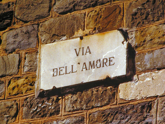 "| ♕ |  Via dell'Amore - Cinque Terre, Italy, 1982  | by © pizzodisevo ""Via dell'Amore"" (Path of Love) is a hiking path overlooking the Mediterranean Sea, along the winding coastline for just over one kilometer. It's a linking passage between the villages of Riomaggiore and Manarola, located amidst Cinque Terre in Liguria, Italy.  [Ref.Wiki]"