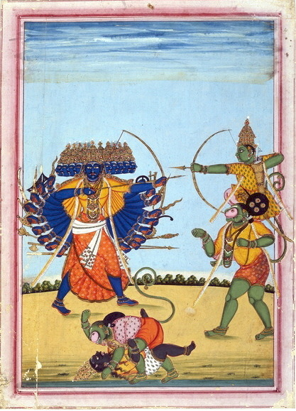 thetwogermanys:  The god Rama and the monkey king Hanuman fight the demon king Ravana in the climax of the Hindu epic Râmâyana Painted on paper circa 1820. From Tanjore or Trichinopoly, Tamil Nadu, India.British Museum