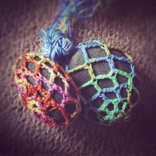 A couple of river rocks I picked up on holidays #crochet #craft #crochetaddict #yarn #wool
