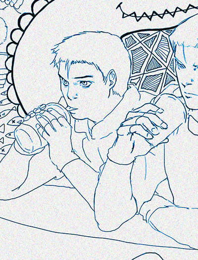 Part of 'Caffeine' lineart. Young Chris having a sip of coffee.
