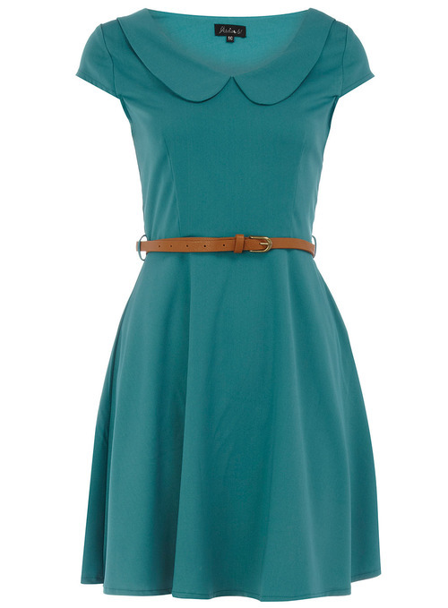 peter pan collar teal dress