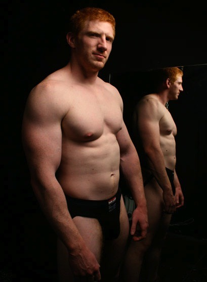dudenookie:  red hair, black jock