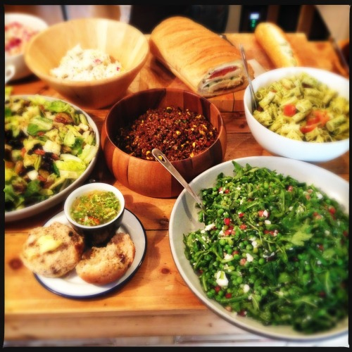 Quinoa pasta; pea, feta and pomegranate; romaine lettuce with pear and pecan; super sandwich and hot noodle broth.