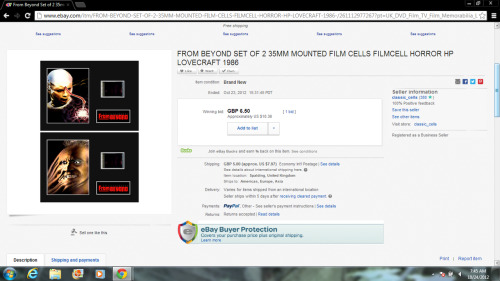 AWWW YEAH!!!!  I just bought myself some FROM BEYOND freaking FILM CELLS guys! They'll be a prefect edition to my From Beyond collection! :D