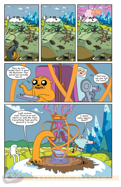 Adventure Time #9 is out today!  Get it at your local comic book shop!  It features TIME TRAVEL SHENANIGANS involving both a trip back to Adventure Time #1 and the original pilot episode.  whaaaaaaaaaat