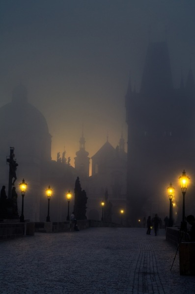 littlepawz:  Prague's Charles Bridge dressed in its ghostly best  Prague, to celebrate Halloween? what do you think about it?