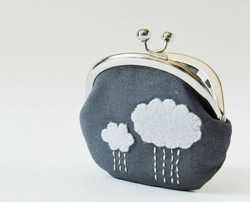 Coin purse rain clouds on charcoal by oktak on Etsy
