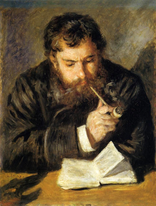 "fleurdulys:  Claude Monet; The Reader - Pierre Auguste Renoir  1873-1874   Perfect pic for my ""Beards &…."" Events."