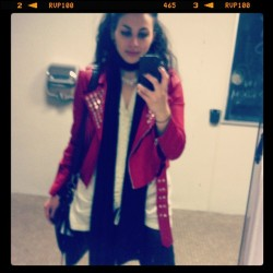 Ladies room pic of the day! Wearing my new red faux leather jacket! #motojacket #fashion #style #red #studs #massart