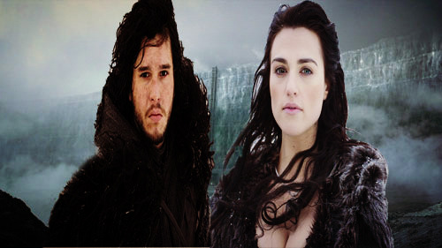 Jon Snow and Morgana Pendragon on the wall.
