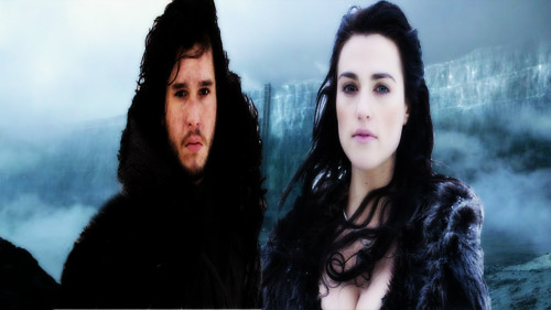 Morgana Pendragon and Jon Snow on the wall.