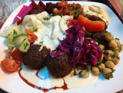 Falafel & fixins from Old City Cafe in Washington D.C.!