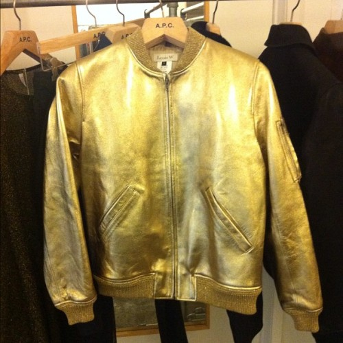 Awesome Louis W for APC spring gold bomber jacket Photographed by Naomi Nevitt