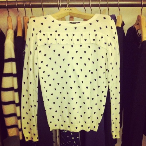 Heart-print ruffle shirt at APC spring preview  Photographed by Naomi Nevitt