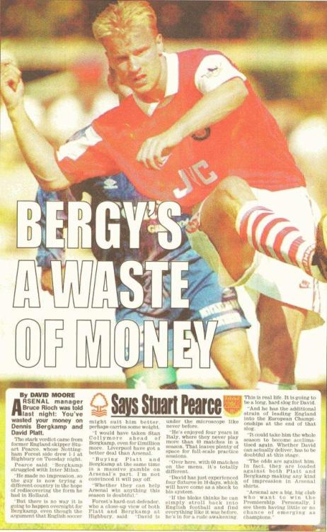 "futbolintellect:  ""Bergkamp's a waste of money.""    Well done Stuart Pearce, good call…twat."