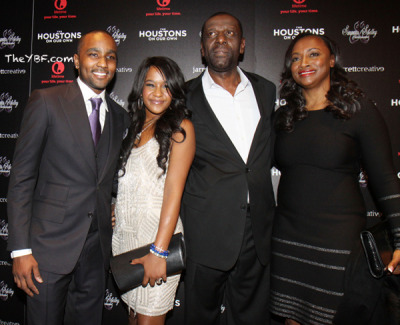 "Bobbi Kristina and her, umm… man/fiance/adopted brother Nick Gordon, and the rest of Whitney Houston's family in NYC for the debut of their new Lifetime Network reality show ""The Houstons: On Our Own."""