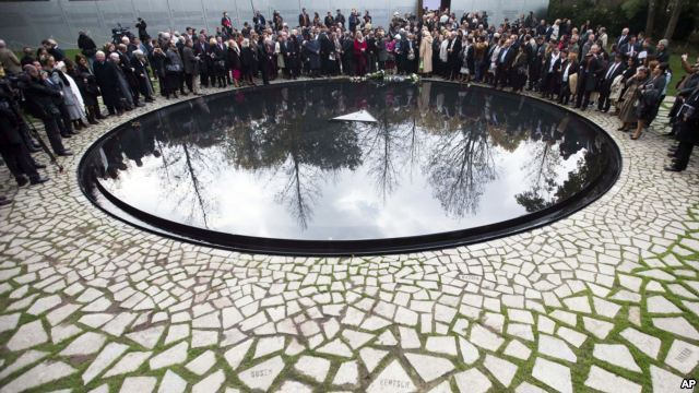 Germany Opens Memorial to Roma Holocaust Victims German Chancellor Angela Merkel is inaugurating a memorial to thousands of victims of the Holocaust who were ethnic Roma. Merkel opened the memorial in Berlin, the German capital. The circular pool is located across the street from the German parliament building. The Nazis deemed the Roma, like the Jews, to be genetically inferior. It is unclear how many Roma were rounded up and killed in the death camps during World War II, but estimates reach as high as half a million. (via Deutsche Welle)