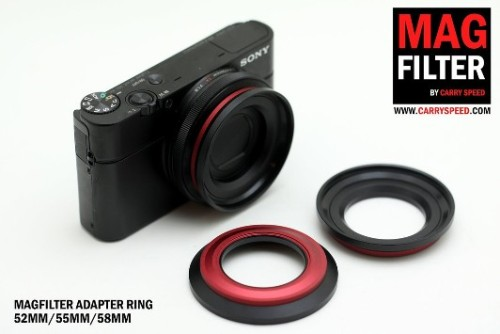 Carry Speed makes both an adapter ring for 52mm, 55mm, and 58mm (of course you can add step up or step down filters to these) and they have also made a circular polarizer lens that works in the same way. (via Carry Speed Magfilter Filters And Adapters Are Back in Stock)