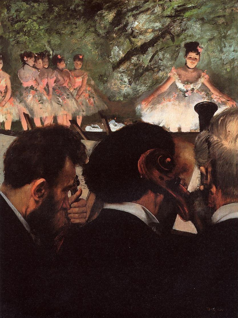 Musicians in the Orchestra (1872). Edgar Degas (French, Impressionism, 1834-1917). Oil on canvas. Stadelsches Kunstinstitut, Franfurt, Germany. In Degas' second variation of his orchestra scene, we see only the backs of their heads; the instruments are blocked from view. Degas radically reworked this painting several times, making space for the stage and his new chief protagonists – the dancers. The spotlight shimmers in their white and pink costumes. The dancers will have a formative impact on Degas's work and lead him to fame.