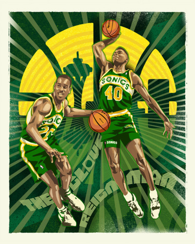 siphotos:  Sonics legends Gary Payton and Shawn Kemp are honored in this painting by Mark Sgarbossa. An entire collection of NBA-inspired artwork is available at RareInk.com. (Courtesy of RareInk) GALLERY: An Artistic Look at the NBA  Hometown Heros!