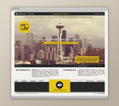 weandthecolor:  Fantastic Web Design for your Inspiration Portland-based multidisciplinary creative studio Colorcubic designed and developed Reading Local, a network of websites devoted to promoting local literary communities across the US. Unfortunately, Reading Local is no longer online but it's still a great web project and worth sharing. More images of the Building on WE AND THE COLORFacebook // Twitter // Google+ // Pinterest