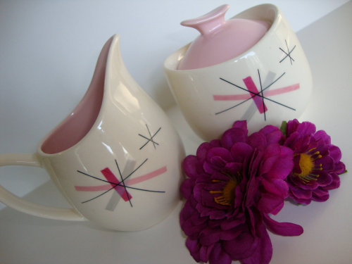 Pink Salem Atomic Hopscotch Cream and Sugar Set Via