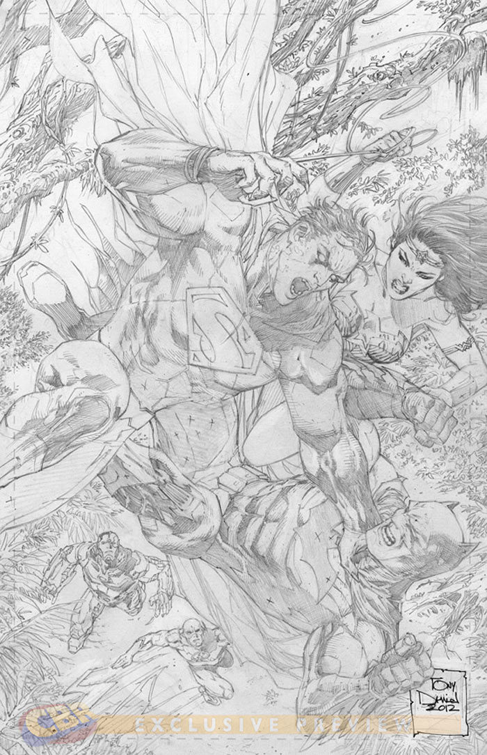 "Justice League"" #14  the pencils-only variant by current JL and future ""Action Comics"" artist Tony Daniel. via FIRST LOOK: Fabok's ""Justice League"" Variant Cover - Comic Book Resources"