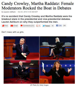 "cvlo:  newsweek:  Lady moderators > man moderators.  ""Lady"" moderators. FUCK. YOU."