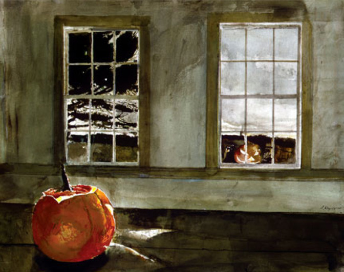 Andrew Wyeth - Mischief Night, 1994 Watercolor. Private Collection