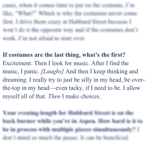 I love this. From a Dance Magazine interview with dancer/choreographer Alejandro Cerrudo.