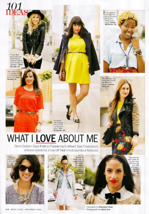 calivintage:  i'm in the november issue of marie claire magazine! click here.