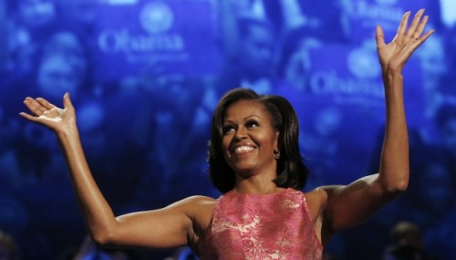 theatlantic:  When Michelle Obama Talks, Do Women Listen?  First Lady Michelle Obama can charm talk-show hosts, deliver winning anecdotes about her husband's socks, and bake a mean cookie. The mom-in-chief, as she calls herself, has broad appeal, but she's particularly good at firing up the Democratic base. And as the candidates fight over female voters, Michelle Obama's popularity could be pivotal. […]Romney's wife, Ann, is also well-liked, capable of giving a strong speech and delivering personal anecdotes that soften her husband's image. Ann Romney has also been an important conduit to female voters: her speech at the Republican convention, which included an ode to women and the burdens they bear, is a case in point. But while Ann Romney tends to talk more generally about her husband's kindness and leadership, Michelle Obama has made the case that the president deeply understands what women's lives are like.  Read more. [Image: Reuters]  Written by my cubicle neighbor and actual neighbor, Sophie Quinton. -BdM