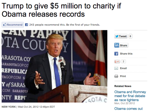 Dear Donald Trump: We dare you to donate the $5 million without bringing the president into the matter. Will you do it?