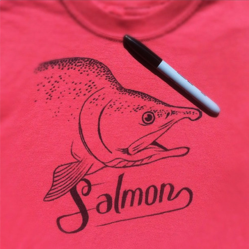 I drew a salmon on a salmon colored shirt.