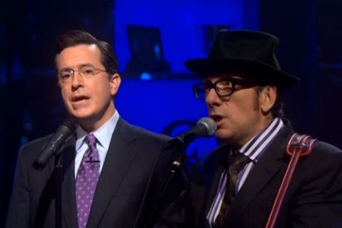 Stephen Colbert on the parallel between Elvis Costello's relationship with Bruce Springsteen and Colbert's relationship with Jon Steward:  [Elvis Costello] was trying when he was younger to try to write Bruce Springsteen songs — and that he really liked Bruce Springsteen's sound. And he said but then he eventually stopped doing that because he would try write these songs like Bruce Springsteen and he would end up writing things that were a little bit wry, sardonic, or even character-based. And they didn't have that sort of sincere, anthemic quality that Bruce's songs sometimes has. And that kind of blew me away because he's describing his relation to Bruce Springsteen kind of like my relationship to Jon Stewart. And Jon's favorite artist is Bruce Springsteen and my favorite rock artist is probably Elvis Costello. So there's an odd parallel between Elvis' evolution from what he was trying to do like Bruce and my evolution from what I was trying to do when I worked with Jon.