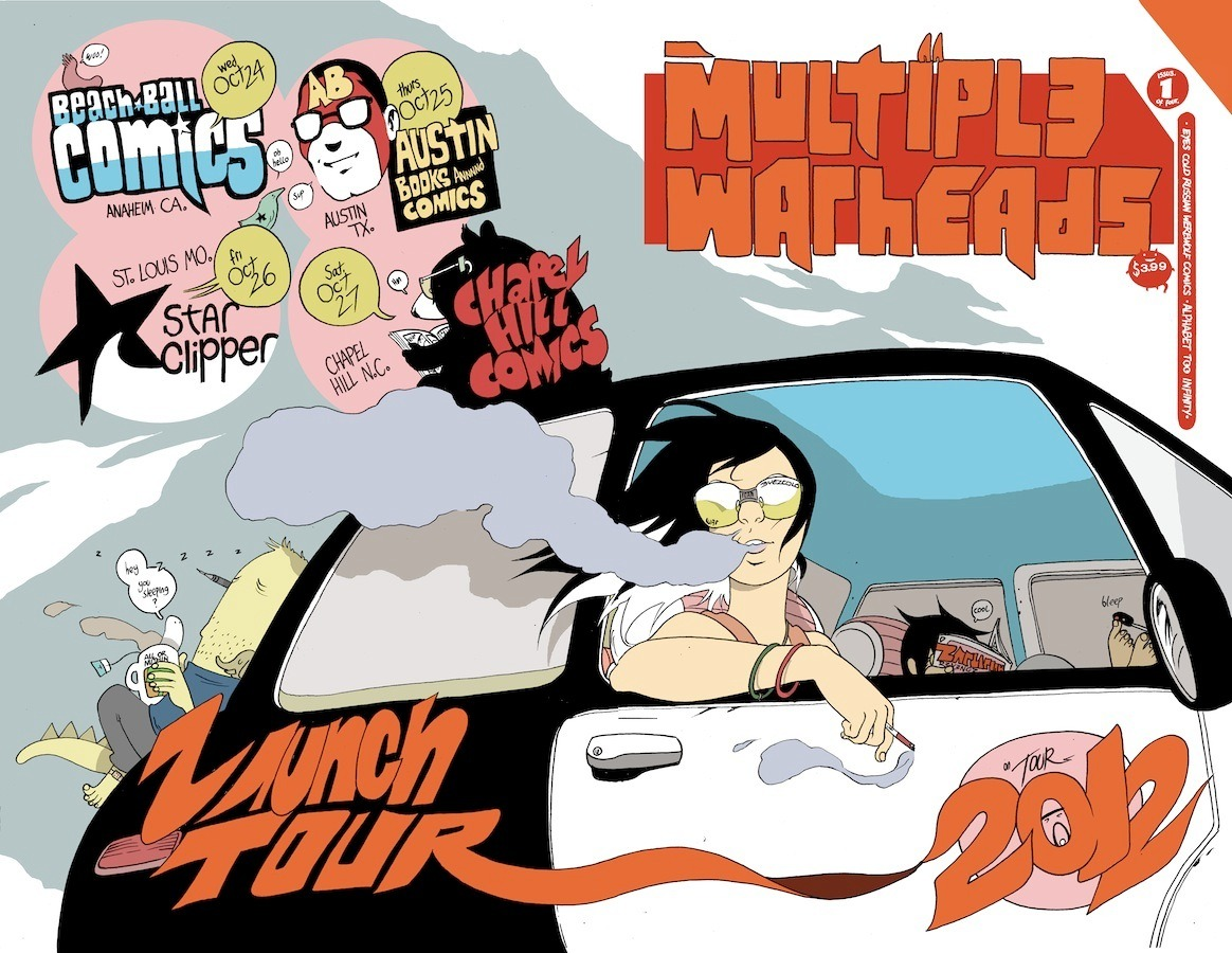 "MULTIPLE WARHEADS LAUNCH TOUR Retailers Ally For Multiple Signing Events Featuring Brandon Graham's New Series  Taking his cue from the characters in his new mini-series, Brandon Graham (KING CITY, PROPHET) is embarking on a cross-country trip to promote MULTIPLE WARHEADS: ALPHABET TO INFINITY with signings at comic book stores from October 24 through 27.  Coming together to promote the signing tour are retailers from California to North Carolina who wanted to show their support for Graham's surreal science fiction comic about organ smugglers in a fanciful, futuristic Russia.  The tour kicks off in Anaheim, California at Beach Ball Comics on October 24, treks to Texas for a signing at Austin Books on October 25, lands in St. Louis for a signing at Star Clipper on October 26, and wraps at Chapel Hill Comics in North Carolina on October 27. (See below for complete schedule details.)  All four stores on the tour will have an exclusive edition of the 48-page, full-color MULTIPLE WARHEADS #1 with a wraparound variant cover by Graham, for $3.99.  MULTIPLE WARHEADS: ALPHABET TO INFINITY is a four-issue, full-color miniseries that places ordinary lives in an extraordinary setting. Its first issue has garnered advance praise:  ""…anything is possible in this comic. This is creativity unleashed. This is an artist unhinged. This is freedom. This is authenticity. And this is where comics should live.""     - MTV Geek  ""Full of that trademark Brandon Graham ambition (Grahambition?), it's a comic that's wonderfully, strange, fantastically designed, and ultimately worthy of the time and effort it takes to read. It's a text that demands the reader work with it while taking an artful approach to world building. It's a comic that's as much about the mystery of what comes next as it is about what's happening right now.  Every page is an adventure, and every turn the plot takes is unexpected.  That's the beauty of Multiple Warheads #1.""     - The Outhousers  A two-part interview with Graham about MULTIPLE WARHEADS also ran at Comics Alliance in August.  Full Signing Schedule and Store Information  Beach Ball Comics Wednesday, October 24, 2012 5:00 pm until 7:00 pm 3024 W Ball Road Suite G Anaheim, CA 92804 (714) 826-6127 @BeachBallComics www.cornerstorecomics.com http://www.facebook.com/events/384321781637008/  Austin Books Thursday, October 25, 2012 4:00 pm until 7:00 pm CDT 5002 North Lamar Boulevard Austin, TX 78751 (512) 454-4197 @AustinBooks www.austinbooks.com http://www.facebook.com/events/370404009700444/  Star Clipper Friday, October 26, 2012 6:00 pm until 9:00 pm CDT 6392 Delmar Boulevard Saint Louis, MO 63130 (314) 725-9110 @Starclipper www.starclipper.com http://www.facebook.com/events/482181911812107/  Chapel Hill Comics Saturday, October 27, 2012 5:00 pm until 7:00 pm EDT 316 W Franklin Street Chapel Hill, NC 27516 (919) 967-4439 @chapelhillcomic www.chapelhillcomics.com http://www.facebook.com/events/283670415066127/"