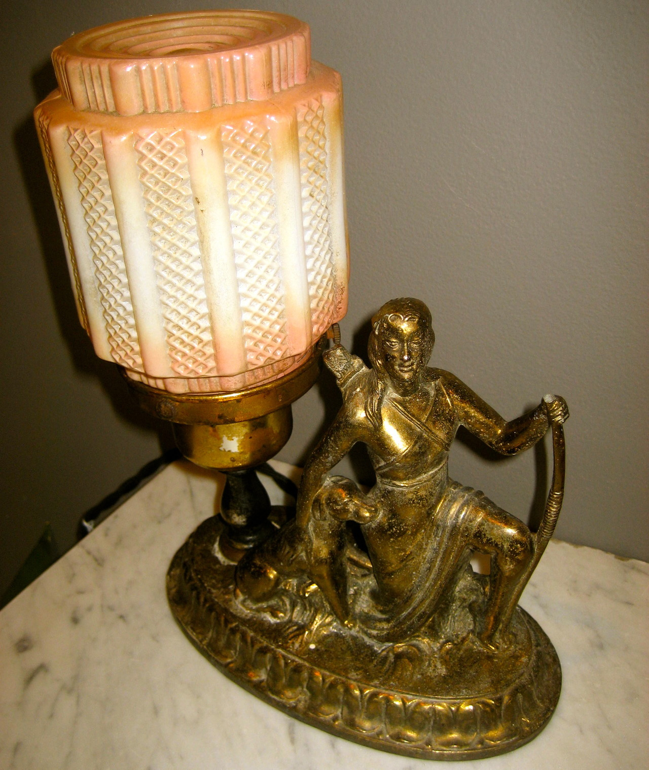 Art Deco Lamp :Native American woman w/ hunting companion