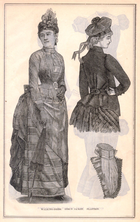 Walking Dress, Girl's Jacket and Plastron; accessories from the August 1887 issue of Peterson's Magazine