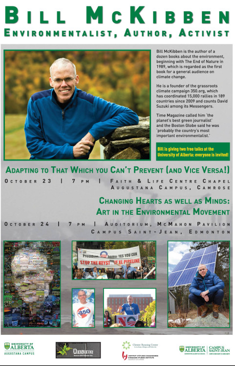 Bill McKibben speaks in Camrose and Edmonton, Oct.23 and 24th, 2012.