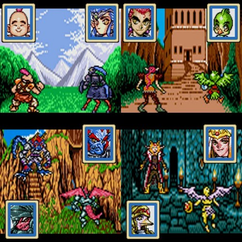 My favorite characters from Shining Force Gaiden III: Final Conflict for Game Gear. Holy crap did I put work into this. Not only were the character colors wrong AGAIN, but I had to redraw them almost completely!! 1) KNUCKLES - Monk with mohawk. Extended his hair & added orange to his outfit. 2) SYLVIA - Centaur knight. Extended & corrected her hair color. Turned her silver armor & red skirt into purples & blues. 3) RUBURAN - King of thieves. Recolored & redrew his whole body, adding shoulder pads, elf ears, grew his arms & boots. Added highlights to his hair. 4) KIDDO - Cutesy lil bird warrior. SEGA colored his body with ugly mustard green so I switched it to the vivrant hues from his portrait. Colored his weapon, tunic & feet. 5) EIKU - Troll villain 6) ERIC - Dragon knight, son of Elliott from SF1 for Genesis. When I first saw these 2 portraits I hoped their stories were tied & they would have a personal duel…Didn't happen so I made it go down here. Recolored Eiku's blue skin, drew his tail & switched his armor from yellow to violet PLUS I drew in his FACE! For Eric, changed his scales from brown to the reds in his portrait. Changed his grey armor to silver/blue. 7) LYNX - Villain with a fur-collar coat. COMPLETELY redrew his body & added EVERY color you see. 8) JULIA - Duck knight, her art shows her weilding a sword but in-game she fights with her hands & feet LMAO!! So badass. Her colors were ALL WRONG! Gave her lavender feathers & gold armor from her portrait, redrew her arms & legs plus gave her a shield.