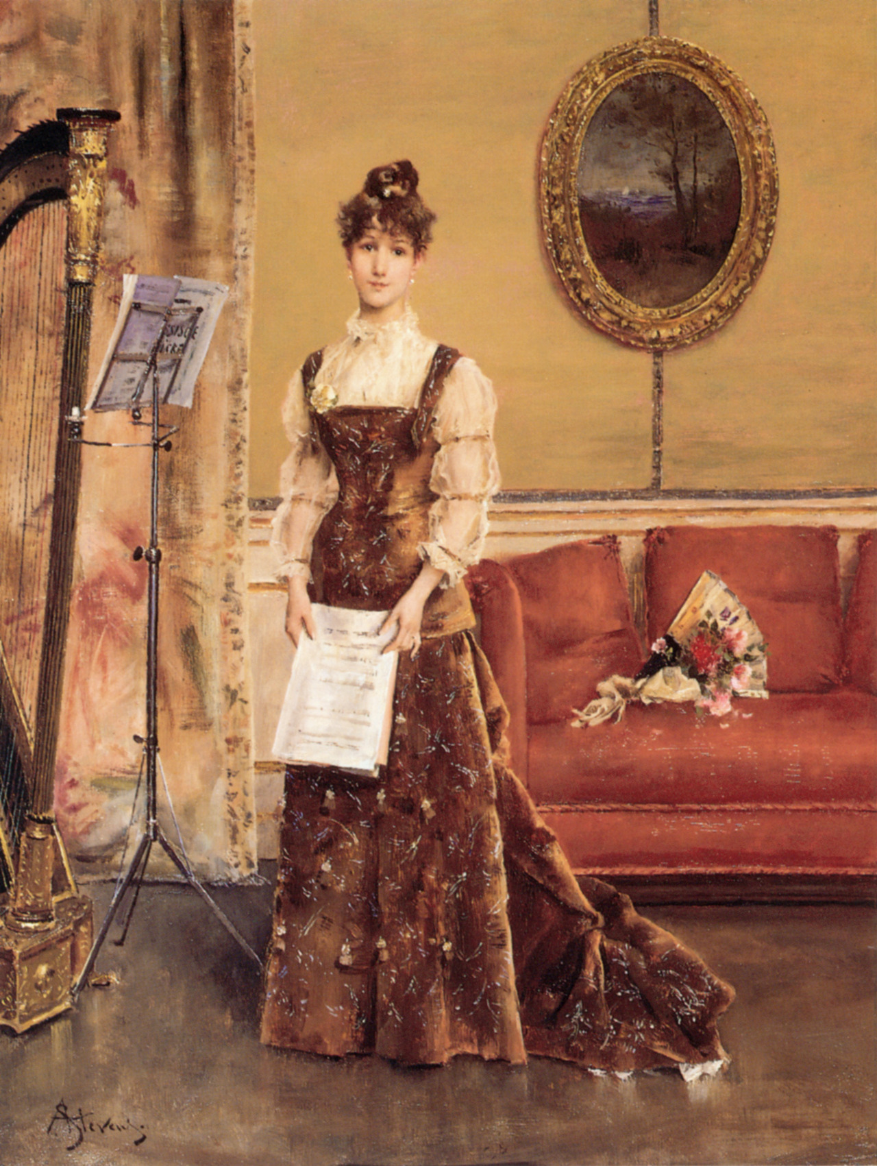 Women's Harp (La Femme la Harpe). Alfred Stevens (Belgian, Romanticism, 1823-1906). Oil on panel. The focus here, as in other Stevens' paintings of the time, is on the fashionable lady (and patron) and the interior. The harp can hardly be seen. During the 1860s, Stevens became an immensely successful painter, known for his paintings of elegant modern women. His exhibits at the Salons in Paris and Brussels attracted favorable critical attention and buyers.